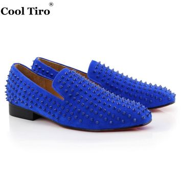Suede Spikes Leather Driving Shoes Men Red bottom Moccasins Boat Loafers