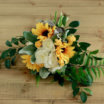 Silk Wedding Bouquet- Sunflower Ranunculus Cream and Fern