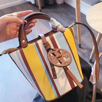Tory Burch Newest Women Shopping Bag Leather Stripe Handbag Shoulder Bag Crossbody Satchel