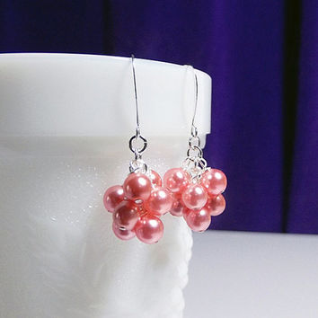 Rose Peach Pearl Small Cluster Earrings, Valentines Mothers Day Christmas Bridesmaid Wedding Mom Sister Grandmother Jewelry Gift, Cocktail