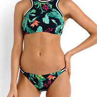 Multicolor Floral Cut Away Bikini Top And Bottom