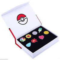 Pokemon Go 1 Kanto League Gym Badge Pin Brooch Pip Cosplay Gift Collection Set