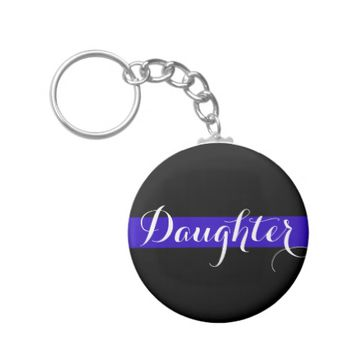 DAUGHTER OF POLICE OFFICER BUTTON KEYCHAIN
