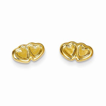 14k Yellow Gold Hearts Post Earrings
