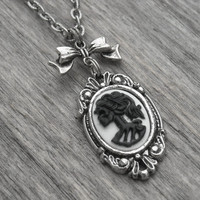 Skull Cameo Necklace Bow Necklace Skull Jewelry Halloween Jewelry Gothic Lolita Skeleton Lady Cameo Victorian Goth Skeletal Black and White