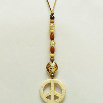 White Howlite Peace Sign Rear View Mirror Dangle   Suncatcher  Car Decor  Hemp