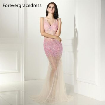 Forevergracedress Sexy Illusion Prom Dress Beaded Crystals Long Backless Sleeveless Formal Party Gown Plus Size Custom Made