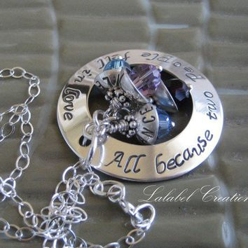Personalized necklace hand stamped washer by LalabelCreations