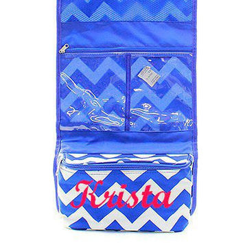 Monogrammed Royal Blue Chevron Toiletry/Jewelry Organizer  Monogrammed Planner Girl Organizer  Planner Supply Organizer Bag