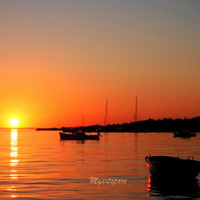 Orange Golden Sunset, Boats Sunset seascape print, Fine Art Photography, Boats at sunset, Croatian Sunset, Nature, 8 x 12''