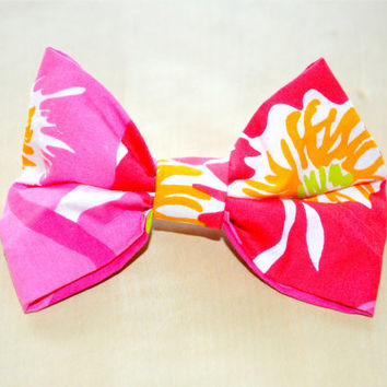 "Designer Lilly Pulitzer ""Scarlet Begonia"" Print Hair Bow"