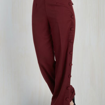 Vintage Inspired Go For the Bold Pants in Burgundy