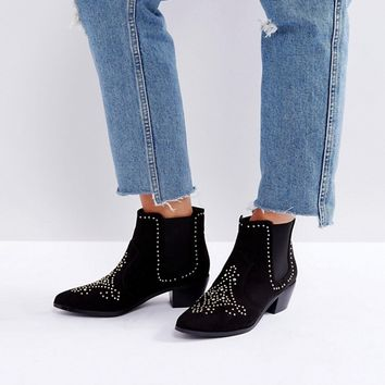 New Look Wide Fit Studded Western Ankle Boot at asos.com