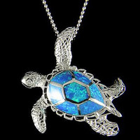 INLAY OPAL HAWAIIAN SEA TURTLE HONU PENDANT STERLING SILVER 925 LARGE