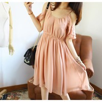 Beautiful Cutoff Shoulder Pleated Chiffon Flouncing Chiffon Dress 2 Colors