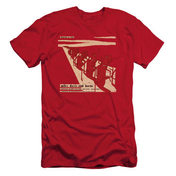 Miles Davis Men's  Davis And Horn Slim Fit T-shirt Red Rockabilia