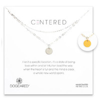 Dogeared Medium Circle 2-Chain Necklace - Sterling Silver & Gold Dipped 18 inch
