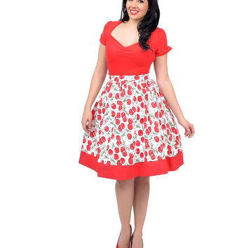 Red & White Cherry Print Color Blocked High Waisted Swing Skirt
