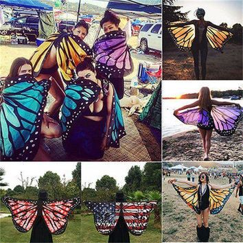 ICIKUH3 Colorful Soft Fabric  Wings Fairy Ladies Nymph Pixie Costume Accessory Womoen Beach Scarves Wraps