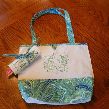Handmade Embroidered Tote with Pockets and Pen Roll Set - Green Octopus