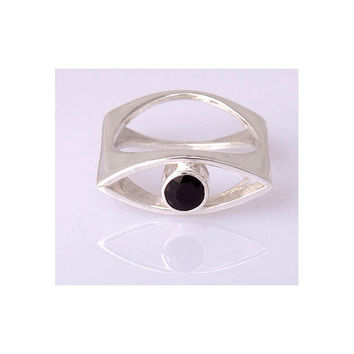 sapphire silver ring contemporary design made to by aboutjewelry