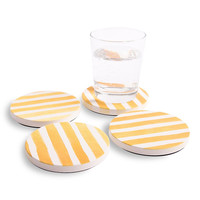 Absorbent Ceramic Coasters with Bright Gold Stripe Graphics Bring a Pop of Color To Any Room
