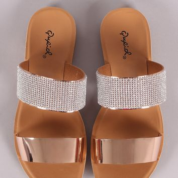 Qupid Metallic Open Toe Rhinestone Band Slide Sandal