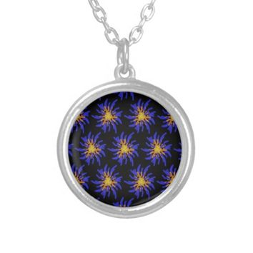 Purple and Yellow Fireworks Abstract Pattern Round Pendant Necklace