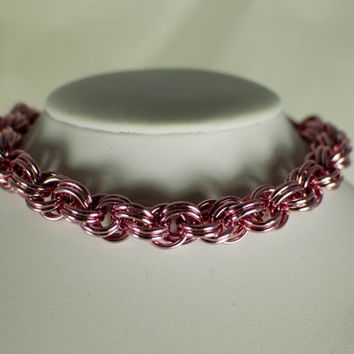 Shiny Pink Luxury Cat / Dog Chainmaille Collar with Breakaway Safety Clasp - Ready To Ship