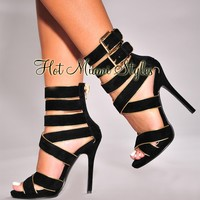 Black Gold Trim Strappy High Heel Sandals