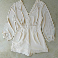 By the Bay Romper in Oyster [5083] - $42.00 : Vintage Inspired Clothing & Affordable Dresses, deloom | Modern. Vintage. Crafted.