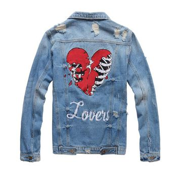 Trendy New France Style #410 Mens Distressed Destroyed Embroidery Skull Heart Moto Biker Blue Denim Jacket  Size M-4XL AT_94_13