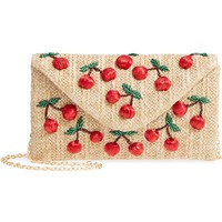 Nordstrom Cherry Embellished Straw Envelope Clutch | Nordstrom
