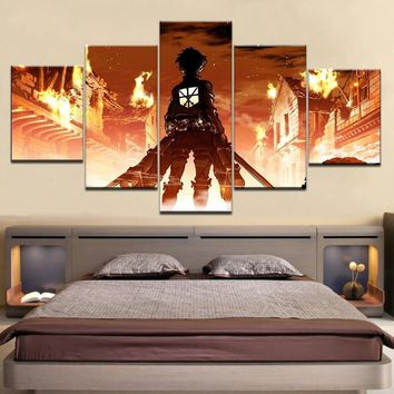 Cool Attack on Titan Modular Canvas Paintings Wall Art Home Decor HD Prints 5 Pieces  Eren Yeager Pictures Animation Posters Framework AT_90_11