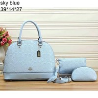 COACH Women's Fashion Three-Piece Quality Leather Tote Bag Shoulder Bag F-LLBPFSH Sky blue