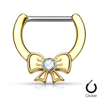 Crystal Bow Nipple Clickers Gold Centered Ribbon Surgical Steel Nipple Bars 14ga