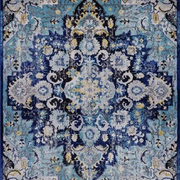 2212 Blue- Yellow Medallion Distressed Oriental Area Rugs