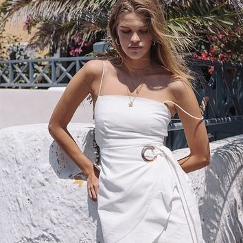 White Ruffle Dress - Dresses by Sabo Luxe