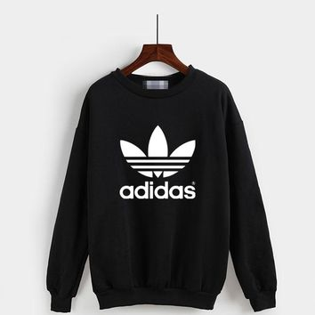 """Adidas"" Fashion Casual Classic  Letter Print Couple Long Sleeve Sweater Tops"