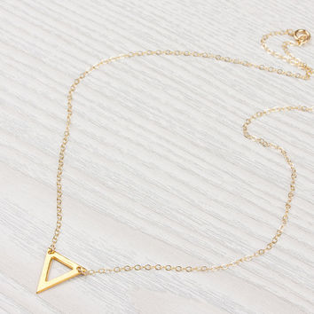 Triangle Necklace • Little Gold Necklace • Tiny Triangle Necklace • Delicate Necklace • Gold Filled Necklace • Geometric Necklace | 0258NM