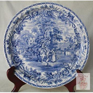 Huge Vintage Blue British Scenery Transferware Platter Chop Plate Round Platter Grapes Vines Grazing Cows Cattle Cottage Dogs