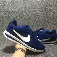 """NIKE"" Cortez Forrest gump Casual Running Sport Shoes Sneakers knit Navy blue white hook"