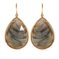 irene neuwirth - 18kt rose gold earrings with rose cut labradorite
