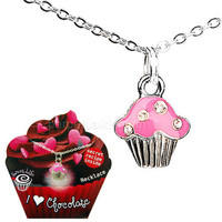 I LOVE CHOCOLATE CUPCAKE NECKLACE
