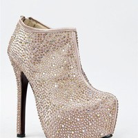NEW KISS KOUTURE PENNY Hot Crystal Rhinestone High Heel Ankle Boot Booty sz Gold