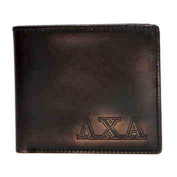 LAMBDA CHI ALPHA Bifold Wallet - Mens Wallet - Leather Wallet - Bifold