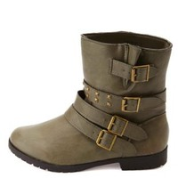 Bamboo Studded & Belted Motorcycle Ankle Boots - Khaki