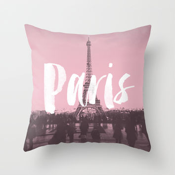 Pink Paris Eiffel Tower Throw Pillow by Crafty Lemon