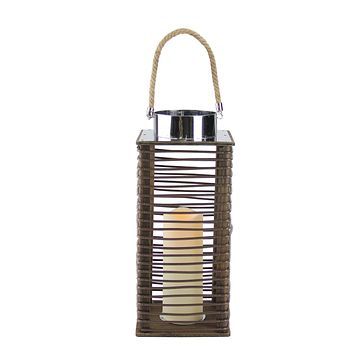 """15.5"""" Contemporary Wooden Corded Lantern with LED Flameless Pillar Candle with Timer"""