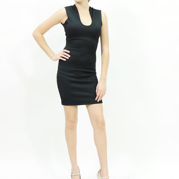 Quilted body U neck bodycon mini cocktail dress Black